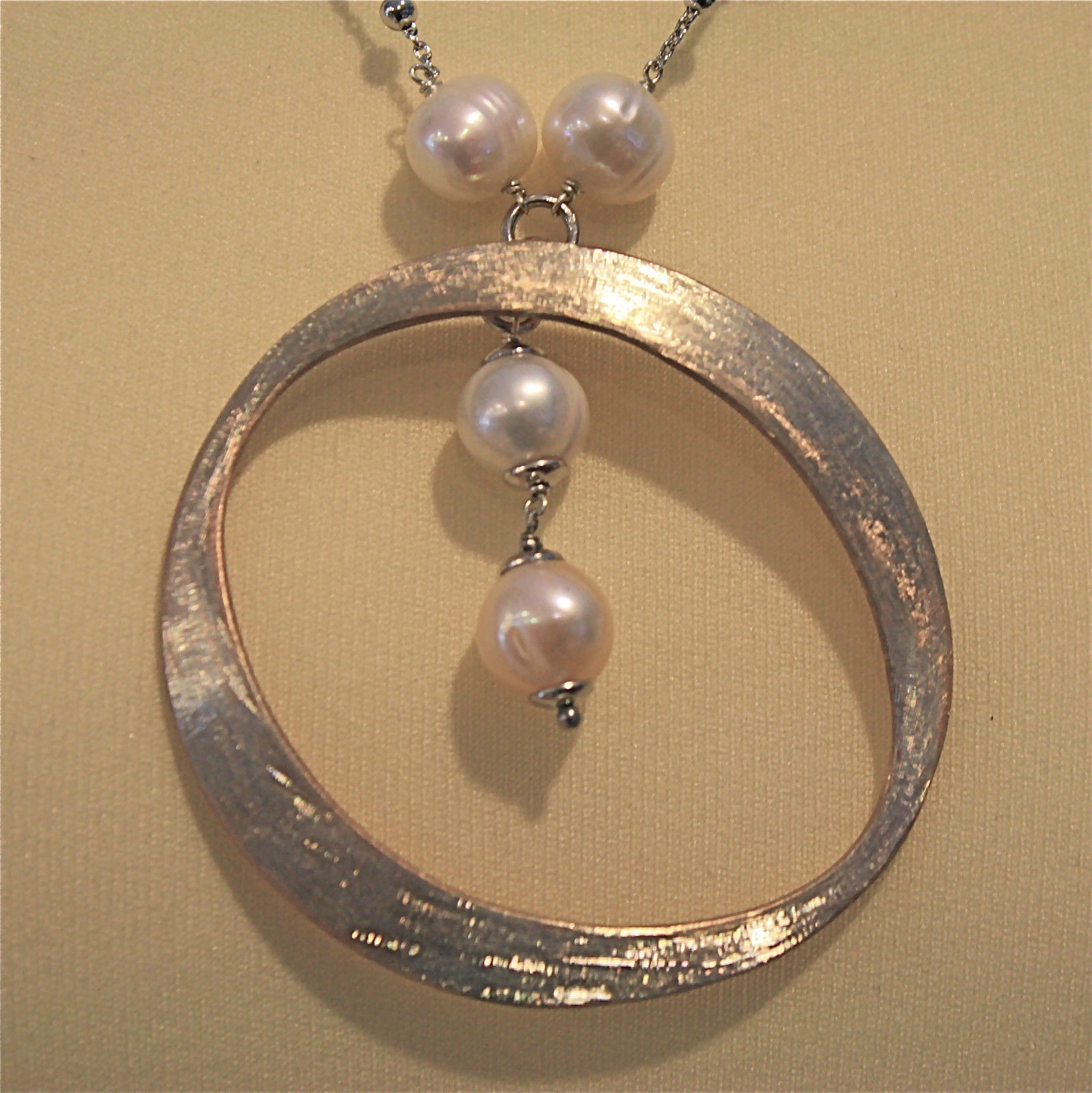 .925 SILVER RHODIUM NECKLACE WITH 10 MM FRESHWATER WHITE PEARLS, 19.69 IN LENGHT