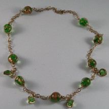 .925 SILVER RHODIUM ROSE GOLD PLATED NECKLACE WITH MURRINE AND GREEN CRYSTALS image 2