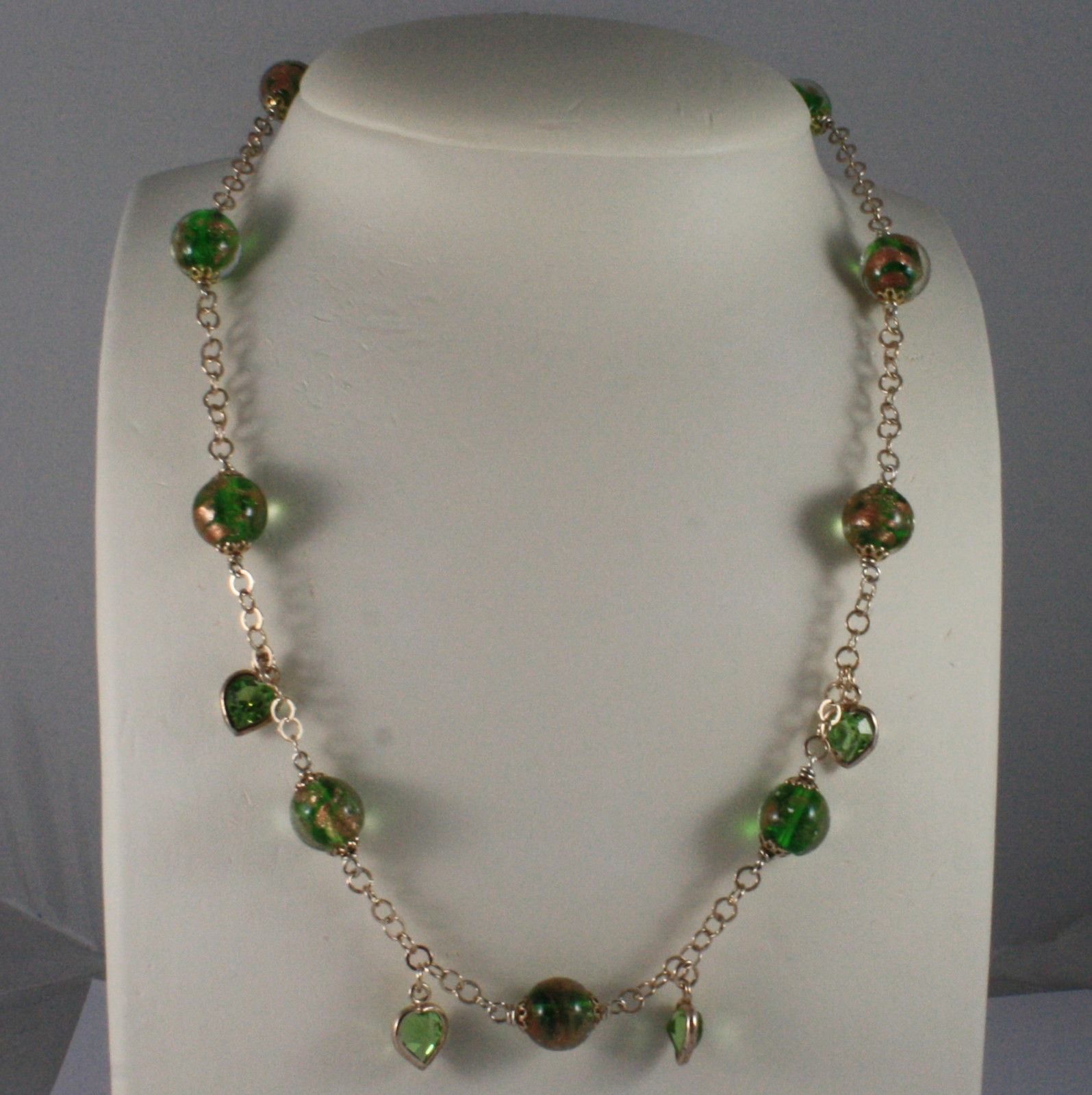.925 SILVER RHODIUM ROSE GOLD PLATED NECKLACE WITH MURRINE AND GREEN CRYSTALS