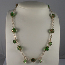 .925 SILVER RHODIUM ROSE GOLD PLATED NECKLACE WITH MURRINE AND GREEN CRYSTALS image 1