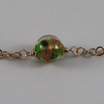 .925 SILVER RHODIUM ROSE GOLD PLATED NECKLACE WITH MURRINE AND GREEN CRYSTALS image 3
