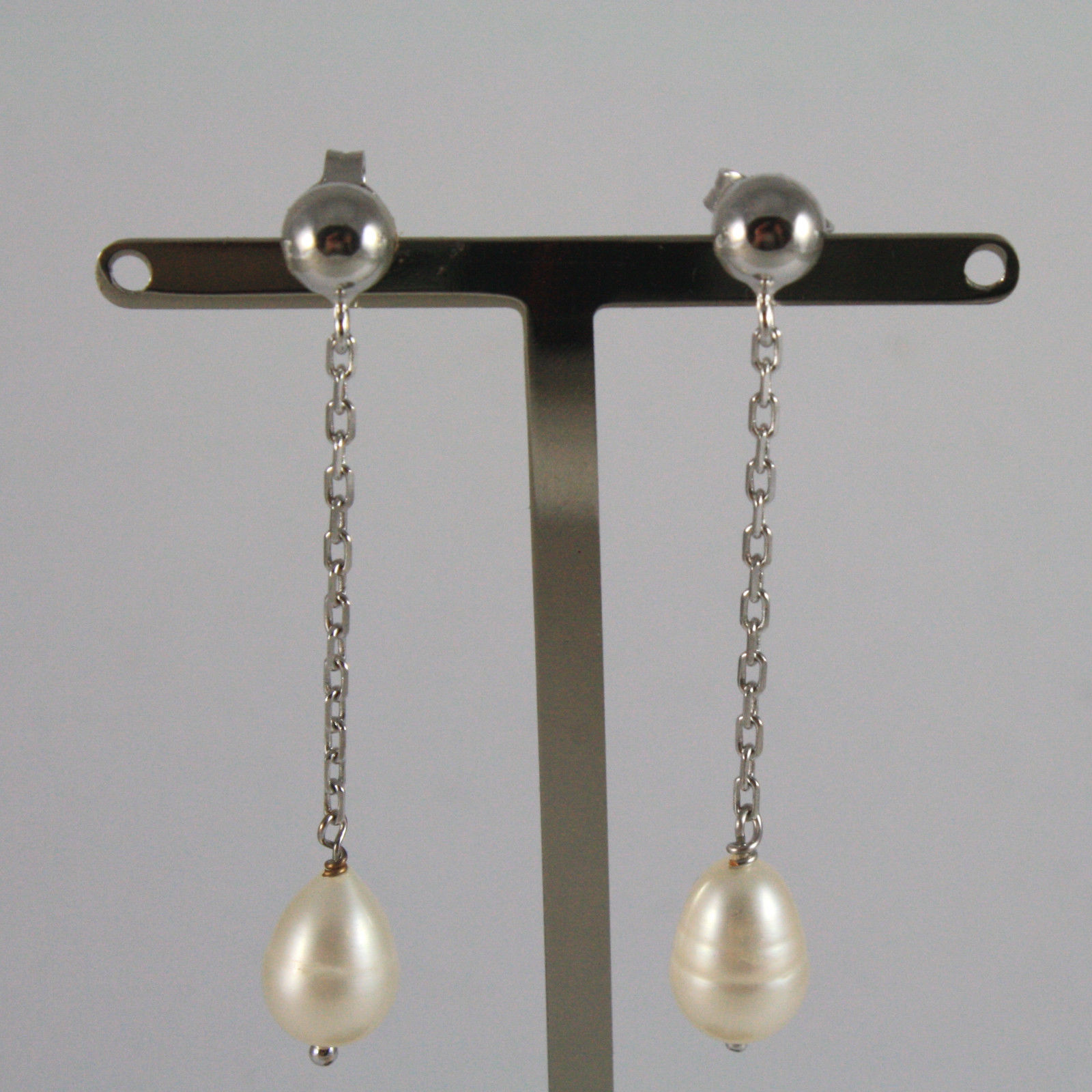 18K WHITE GOLD PENDANT EARRINGS, WITH WHITE PEARLS, LENGTH 2,05 IN MADE IN ITALY