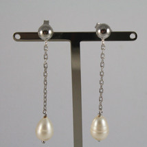 18K WHITE GOLD PENDANT EARRINGS, WITH WHITE PEARLS, LENGTH 2,05 IN MADE IN ITALY image 1