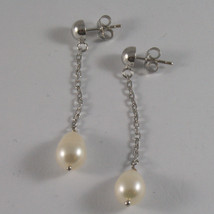 18K WHITE GOLD PENDANT EARRINGS, WITH WHITE PEARLS, LENGTH 2,05 IN MADE IN ITALY image 2