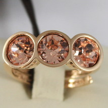 YELLOW BRONZE REBECCA RING & ROUND ORANGE CRYSTAL CT 3.00 TRILOGY MADE IN ITALY