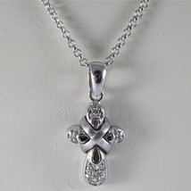 SOLID 18K WHITE GOLD CROSS PENDANT WITH DIAMONDS CT 0.14 NECKLACE, MADE IN ITALY