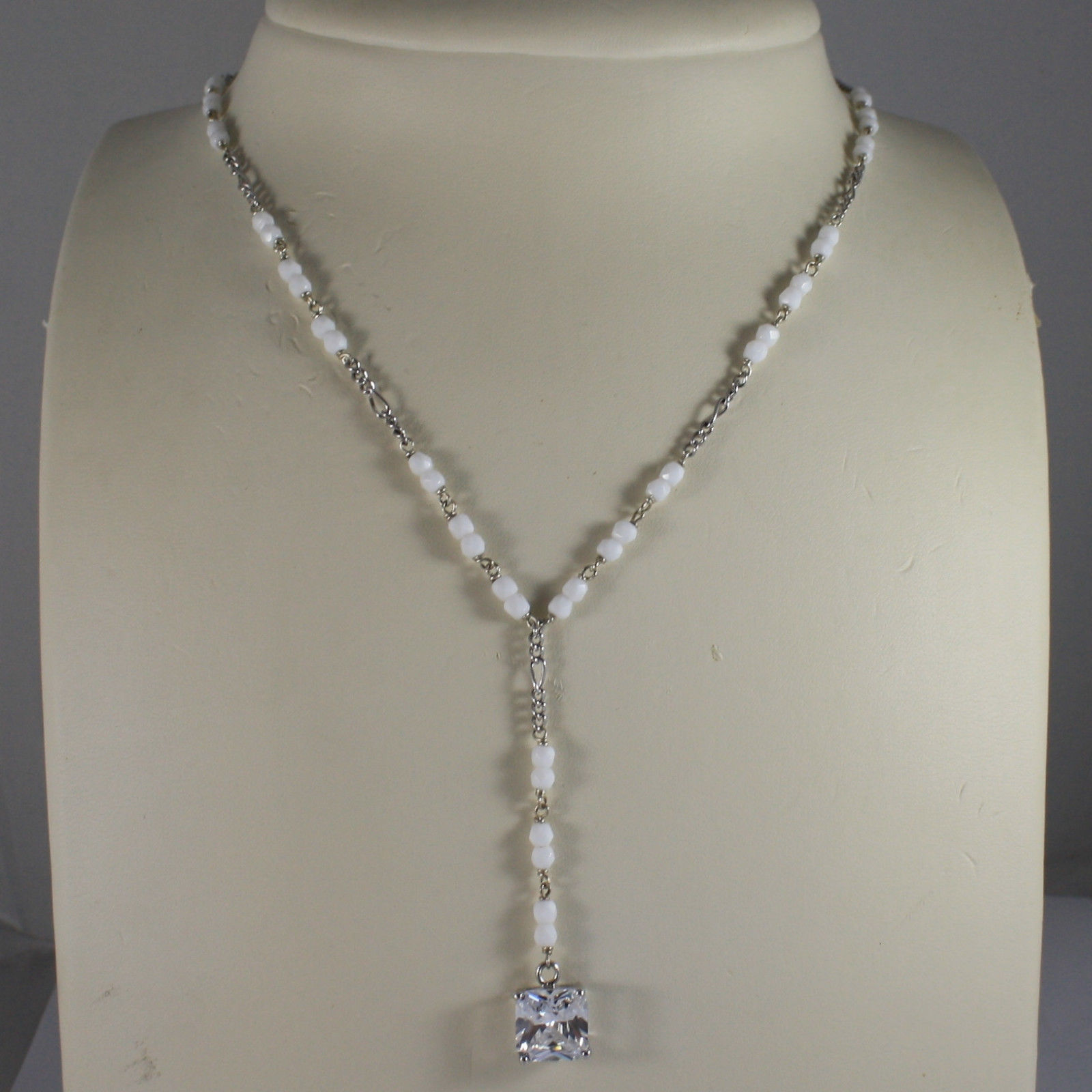 .925 SILVER RHODIUM NECKLACE WITH WHITE AGATE AND TRANSPARENT CRYSTAL PENDANT