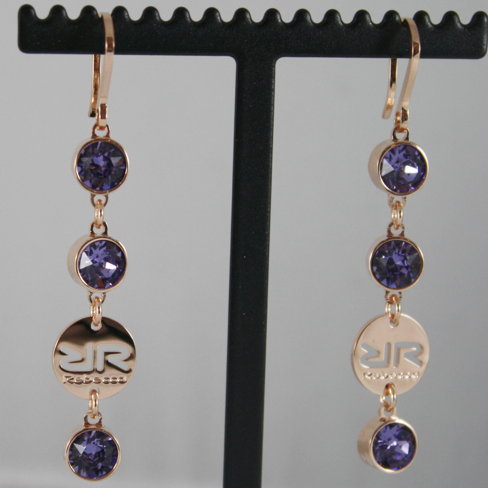 ROSE BRONZE REBECCA PENDANT EARRINGS WITH PURPLE CRYSTAL CT 6.00 MADE IN ITALY