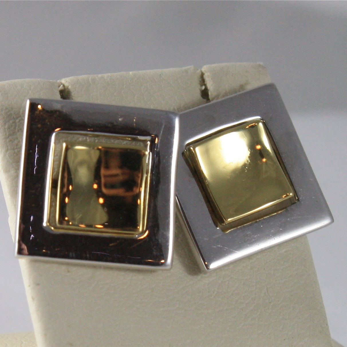 SOLID 18K WHITE AND YELLOW GOLD PENDANT EARRINGS, DOUBLE SQUARE, MADE IN ITALY