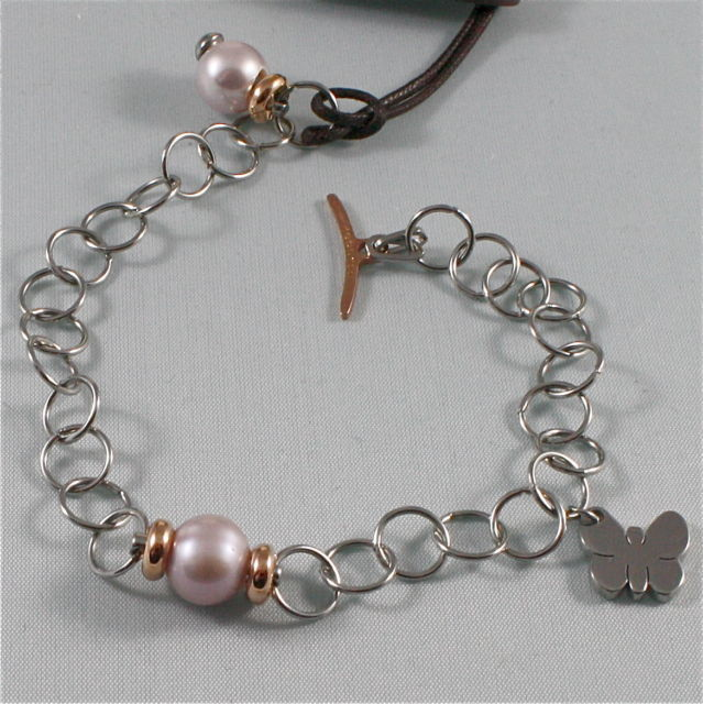 BRACCIALE REBECCA IN BRONZO RODIATO, ROSE' FARFALLA PERLA BMOBXB04 MADE IN ITALY