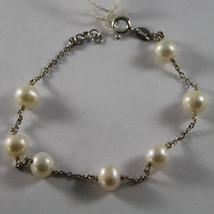 .925 RHODIUM SILVER BRACELET WITH FRESHWATER WHITE PEARLS image 1