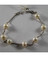 .925 RHODIUM SILVER BRACELET WITH FRESHWATER WHITE PEARLS - $44.65