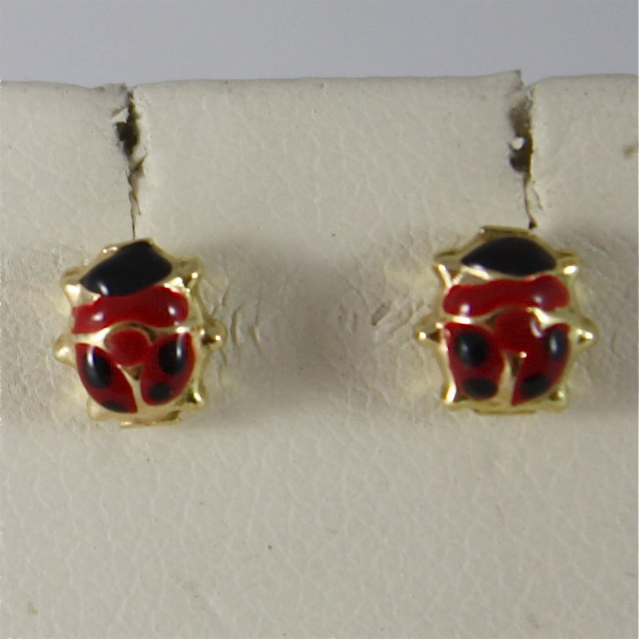 SOLID 18K YELLOW GOLD EARRINGS, LADYBIRD, FINELY ENAMELLED, GLAZED MADE IN ITALY
