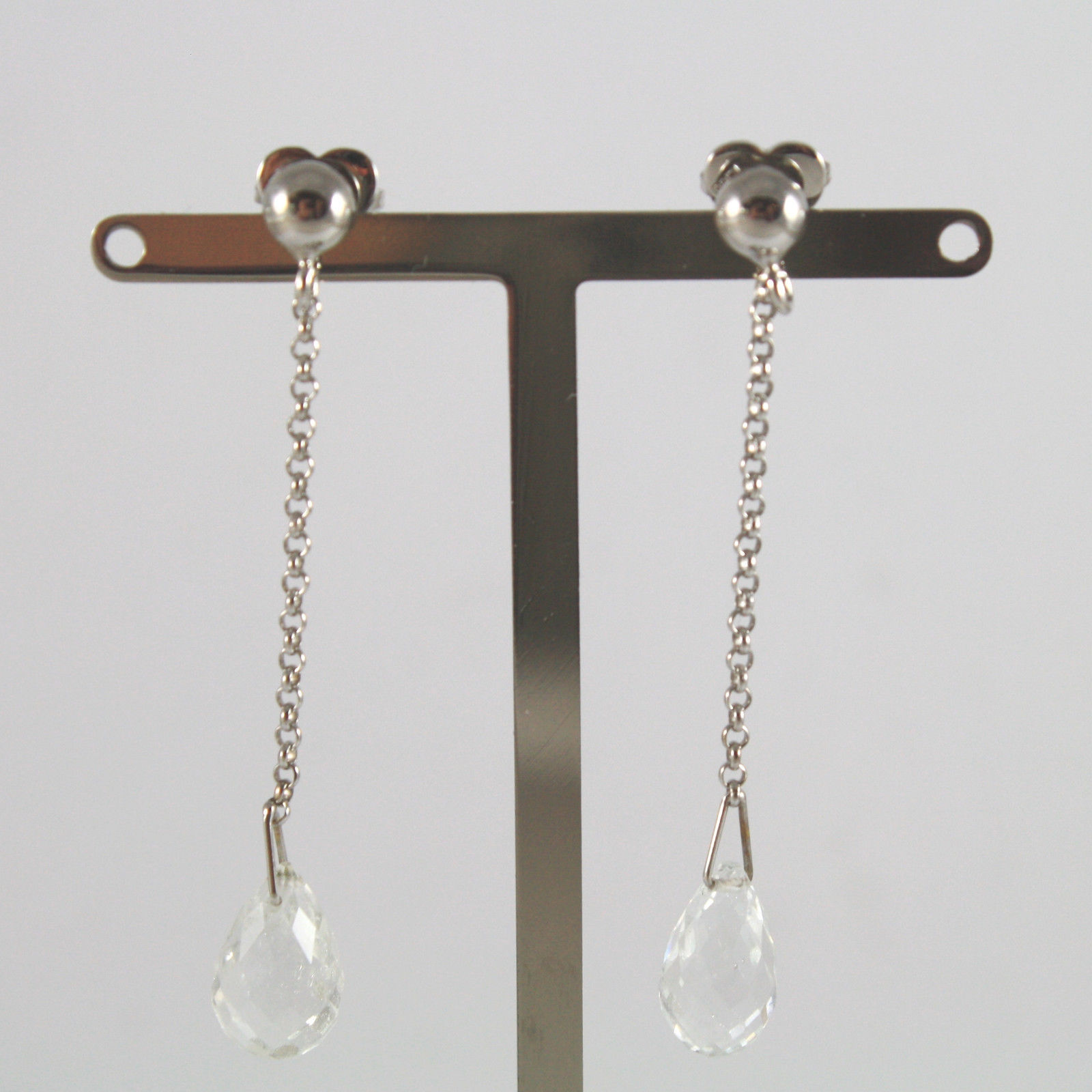SOLID 18K WHITE GOLD EARRINGS, WITH DROPS OF TRANSPARENT TOURMALINES