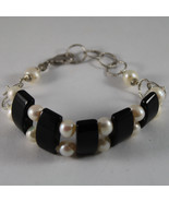 .925 RHODIUM SILVER BRACELET WITH BLACK ONYX AND WHITE PEARLS - $88.35