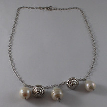 .925 SILVER RHODIUM NECKLACE WITH BAROQUE WHITE PEARLS AND SILVER PENDANT image 2