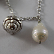 .925 SILVER RHODIUM NECKLACE WITH BAROQUE WHITE PEARLS AND SILVER PENDANT image 4