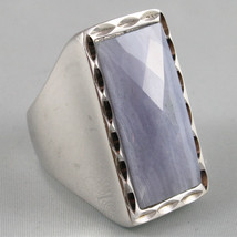 925 RHODIUM SILVER RING WITH BLUE STRIPED AGATE - $132.05