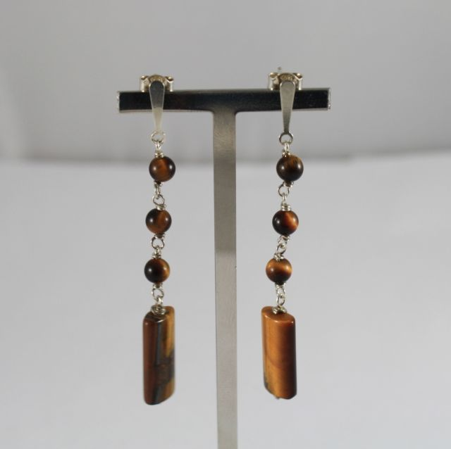 925 Silver Earrings Pendants with Tiger's Eye
