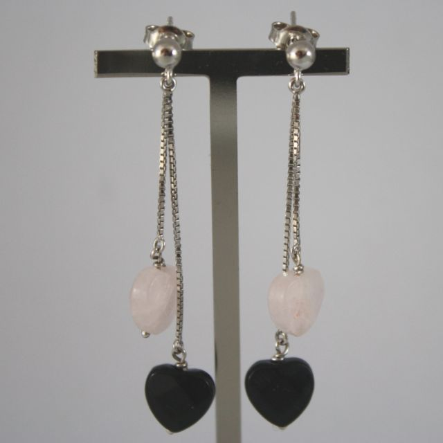White Gold Earrings 750 18k, Pendants with Hearts Onyx and Rose Quartz