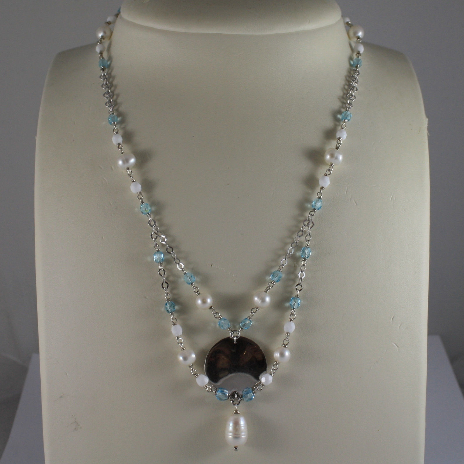 .925 SILVER RHODIUM NECKLACE WITH BLUE CRYSTALS, WHITE PEARLS AND SILVER DISC