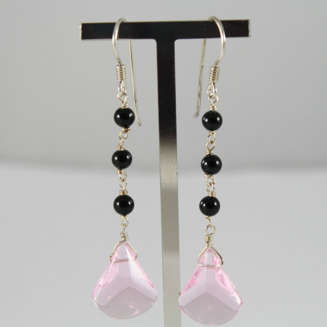 925 Silver Earrings Pendants with Onyx Black and Pink Crystal Drop