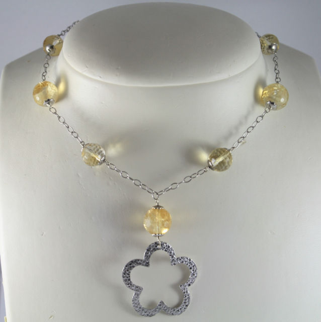 925 Silver Necklace with Pendant Flower and spheres of Quartz Citrine