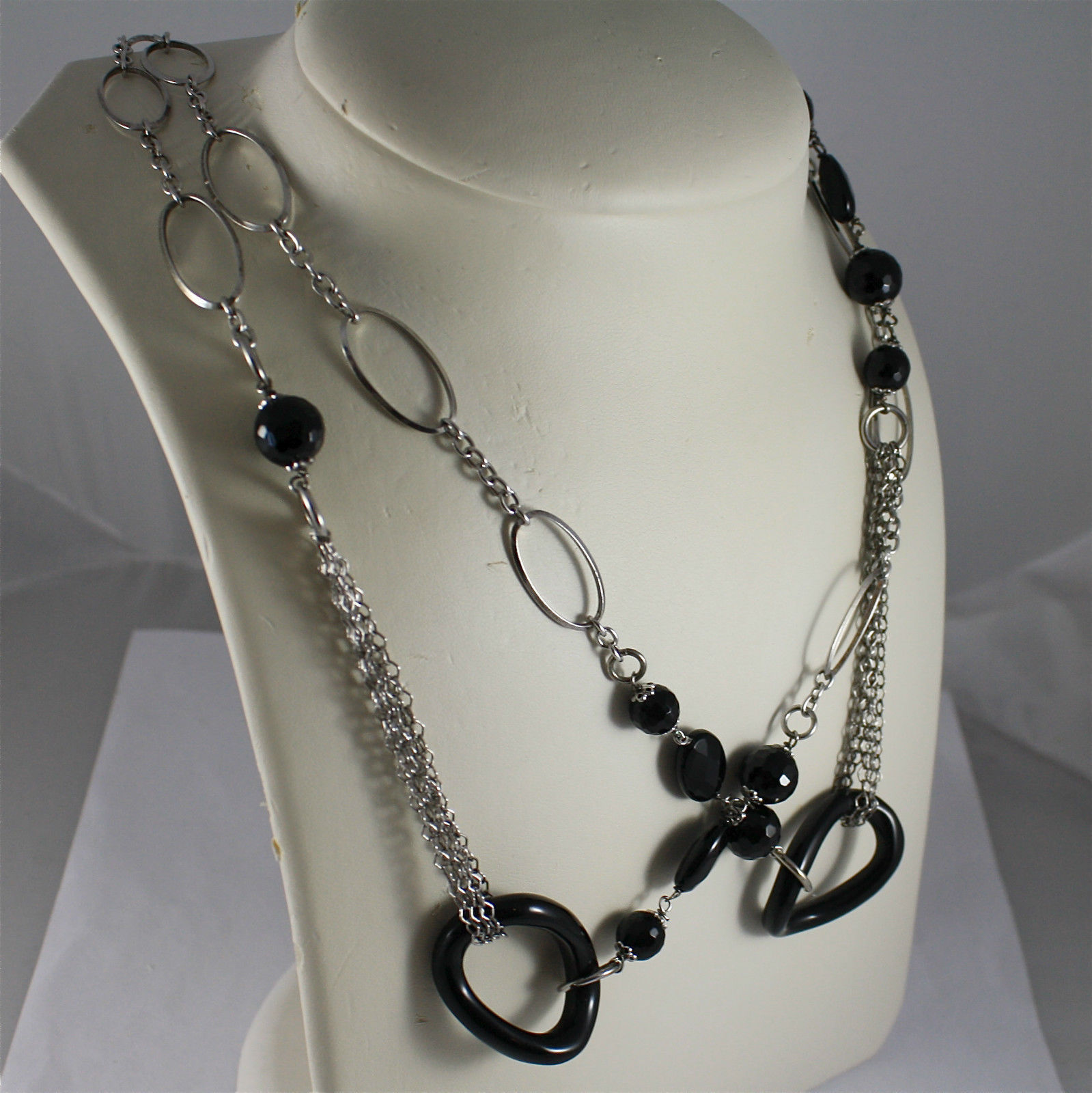.925 RHODIUM SILVER NECKLACE, BLACK FACETED ONYX, MIXED MESH, ONYX OVALS.
