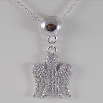 925 SILVER NECKLACE WITH ANGEL PENDANT GIA100 MADE IN ITALY BY ROBERTO G... - $143.82