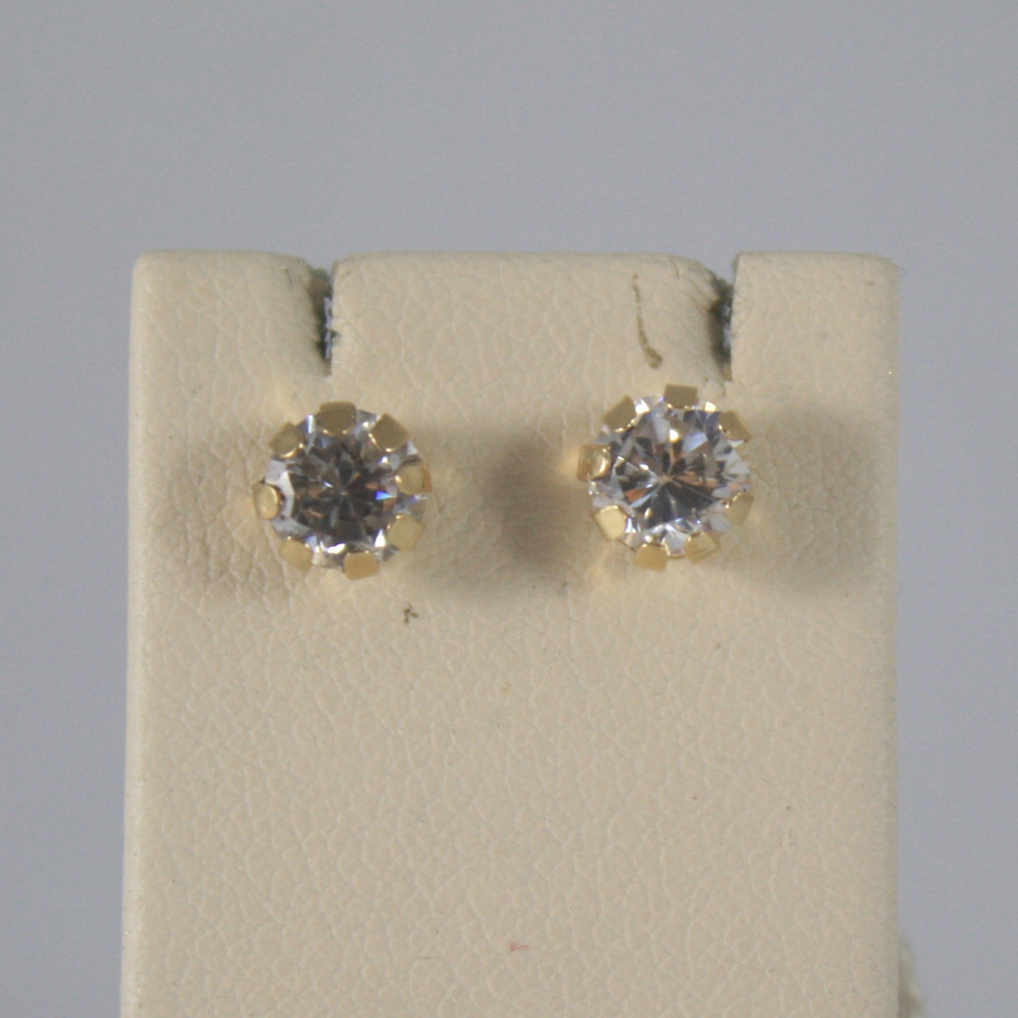 SOLID 18KT. YELLOW GOLD EARRINGS, WITH ZIRCONIA, WIDTH 0,2 IN MADE IN ITALY.