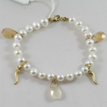 18K 750 YELLOW GOLD PEARLS BRACELET WITH BROWN JADE AND HORNS, MADE IN ITALY