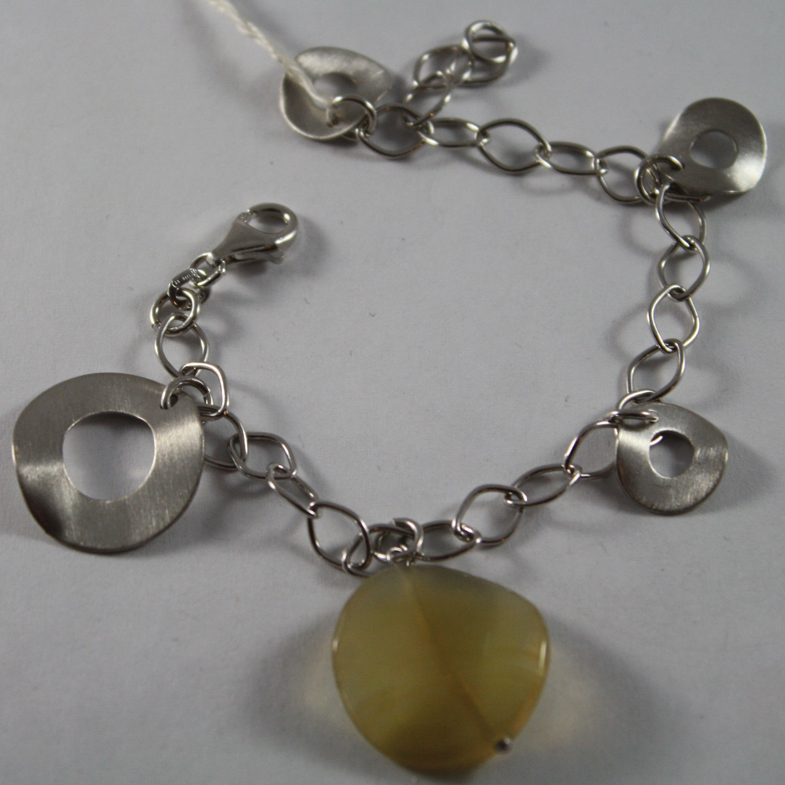 .925 RHODIUM SILVER BRACELET WITH CIRCLES SATIN AND YELLOW QUARTZ