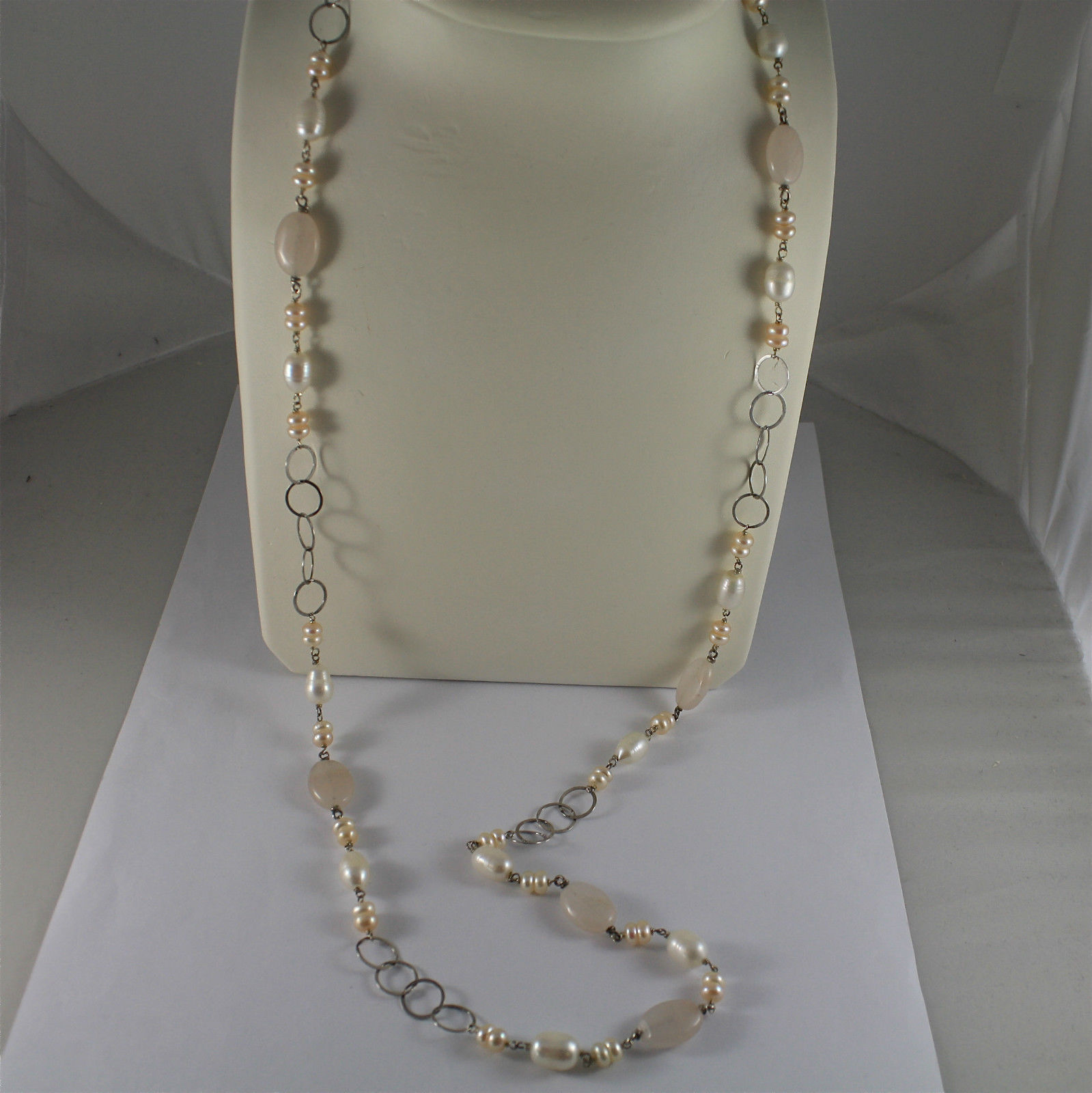 .925 RHODIUM SILVER NECKLACE, WHITE BAROQUE & PINK MINI PEARLS, QUARTZ, 33,46 In