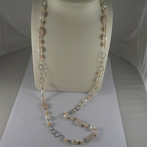 .925 RHODIUM SILVER NECKLACE, WHITE BAROQUE & PINK MINI PEARLS, QUARTZ, 33,46 In image 1