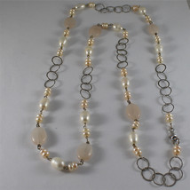 .925 RHODIUM SILVER NECKLACE, WHITE BAROQUE & PINK MINI PEARLS, QUARTZ, 33,46 In image 2