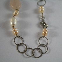 .925 RHODIUM SILVER NECKLACE, WHITE BAROQUE & PINK MINI PEARLS, QUARTZ, 33,46 In image 4