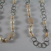 .925 RHODIUM SILVER NECKLACE, WHITE BAROQUE & PINK MINI PEARLS, QUARTZ, 33,46 In image 3