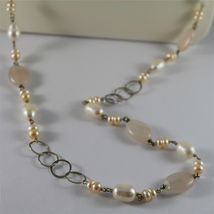 .925 RHODIUM SILVER NECKLACE, WHITE BAROQUE & PINK MINI PEARLS, QUARTZ, 33,46 In image 5