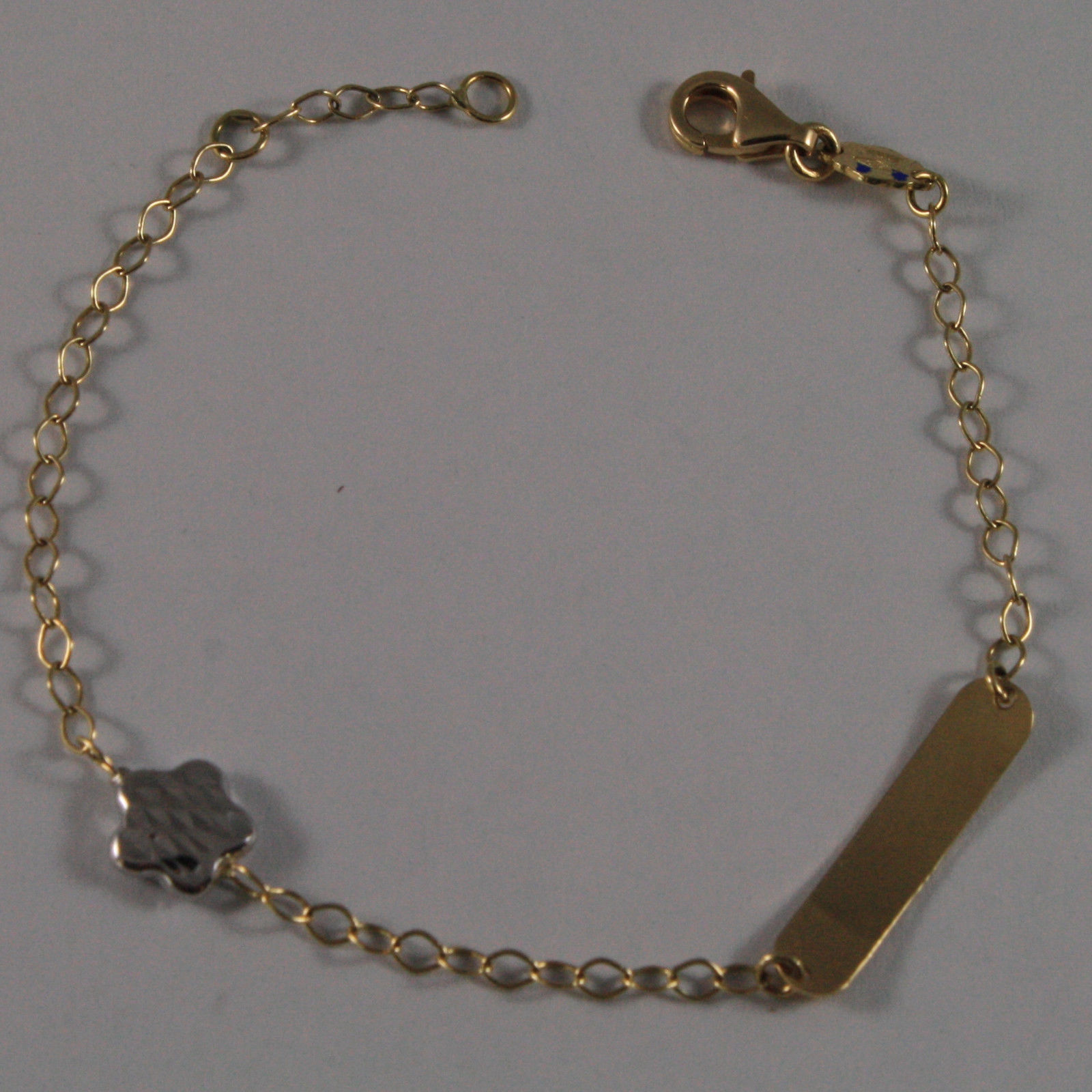 SOLID 18K YELLOW GOLD BRACELET 6.1 INCHES, ENGRAVING PLATE, WHITE STAR FOR CHILD