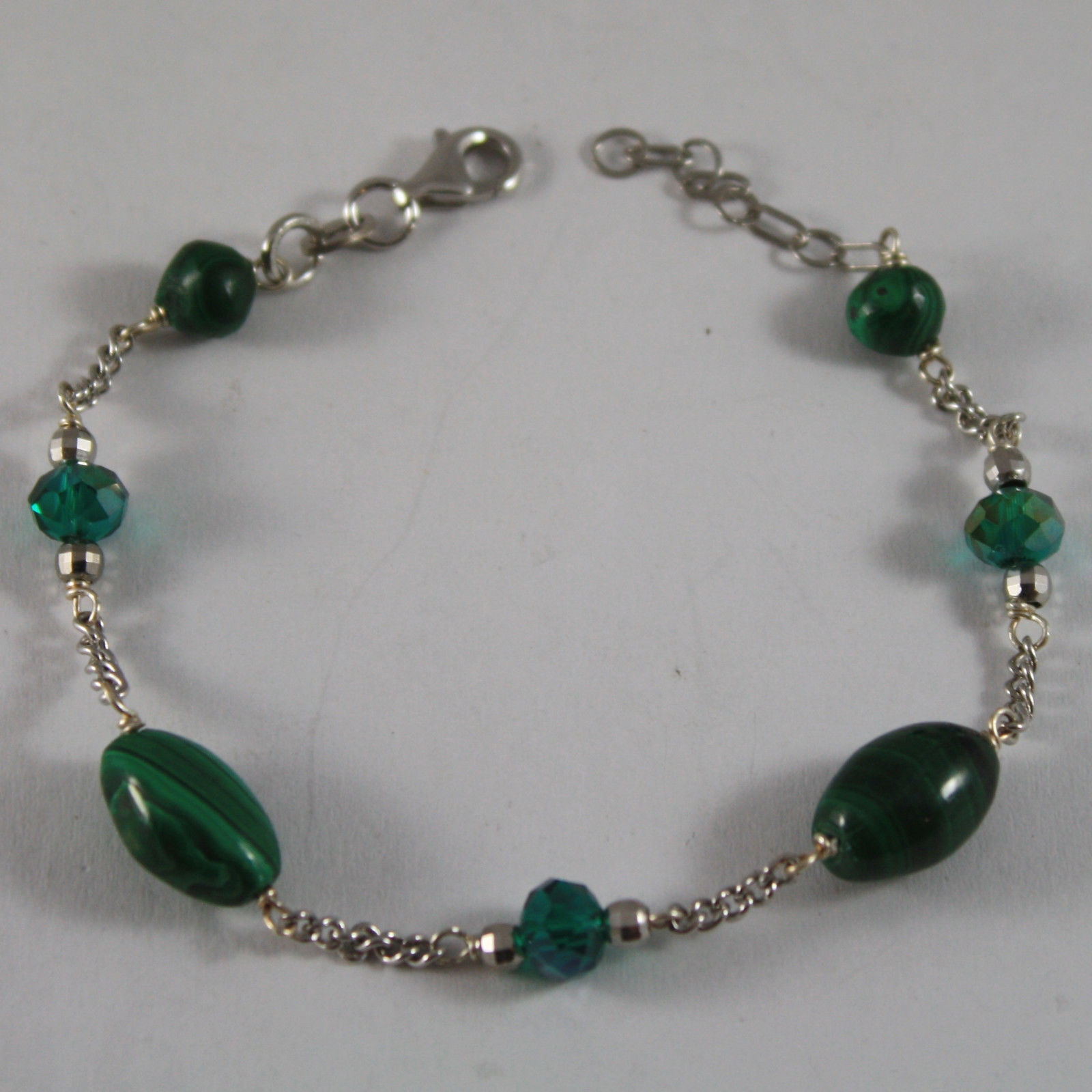 .925 RHODIUM SILVER BRACELET WITH GREEN MALACHITE AND GREEN CRYSTALS