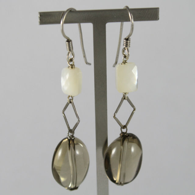 925 Silver Earrings Pendants with Rectangle Mother of Pearl and Quartz Lemon