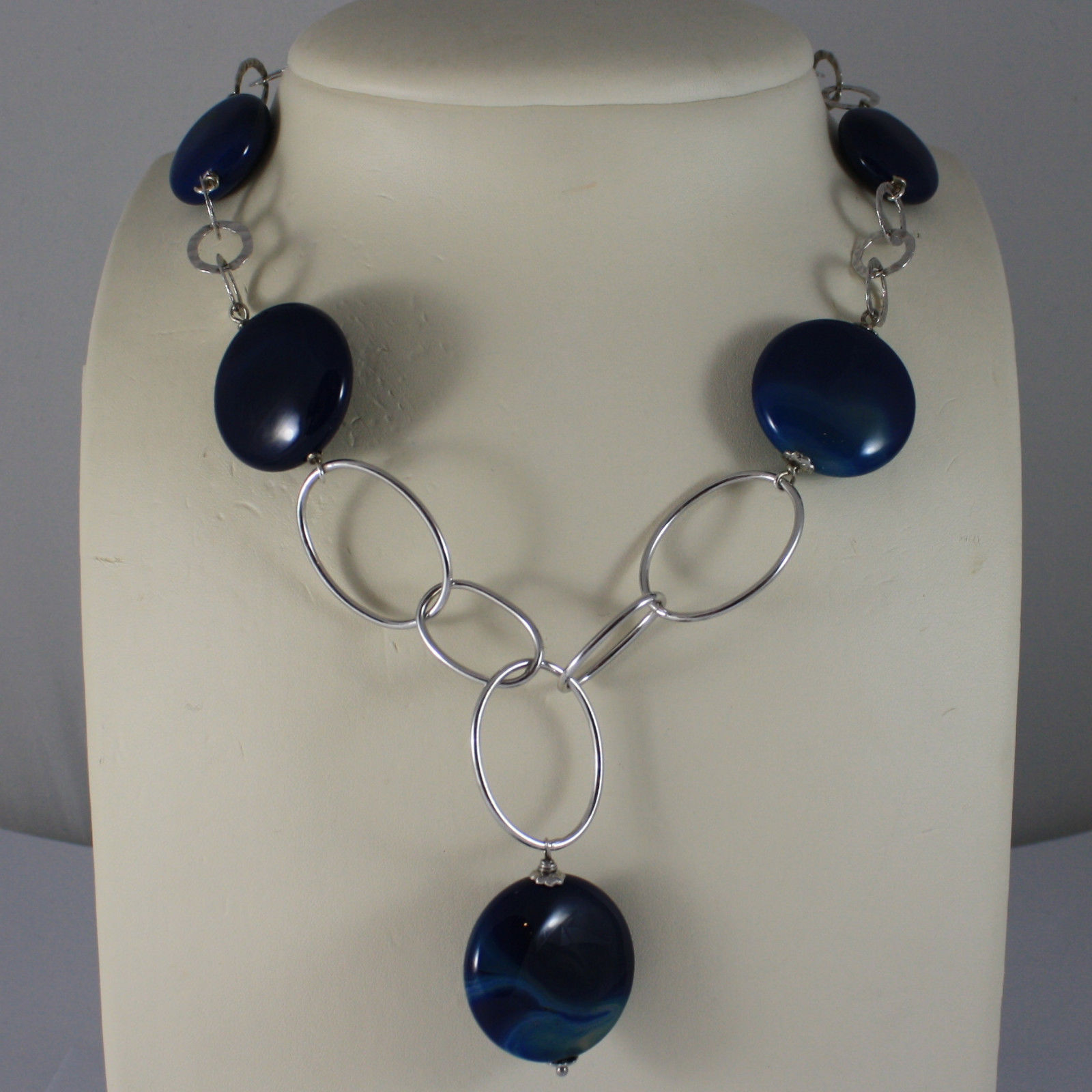 .925 SILVER RHODIUM NECKLACE WITH BLUE AGATE