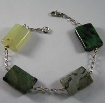 .925 RHODIUM SILVER BRACELET WITH RECTANGLES GREEN JADE AND QUARTZ