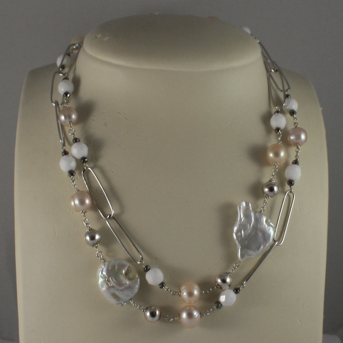 .925 SILVER RHODIUM NECKLACE WITH PINK PEARLS, WHITE AGATE, BAROQUE WHITE PEARLS