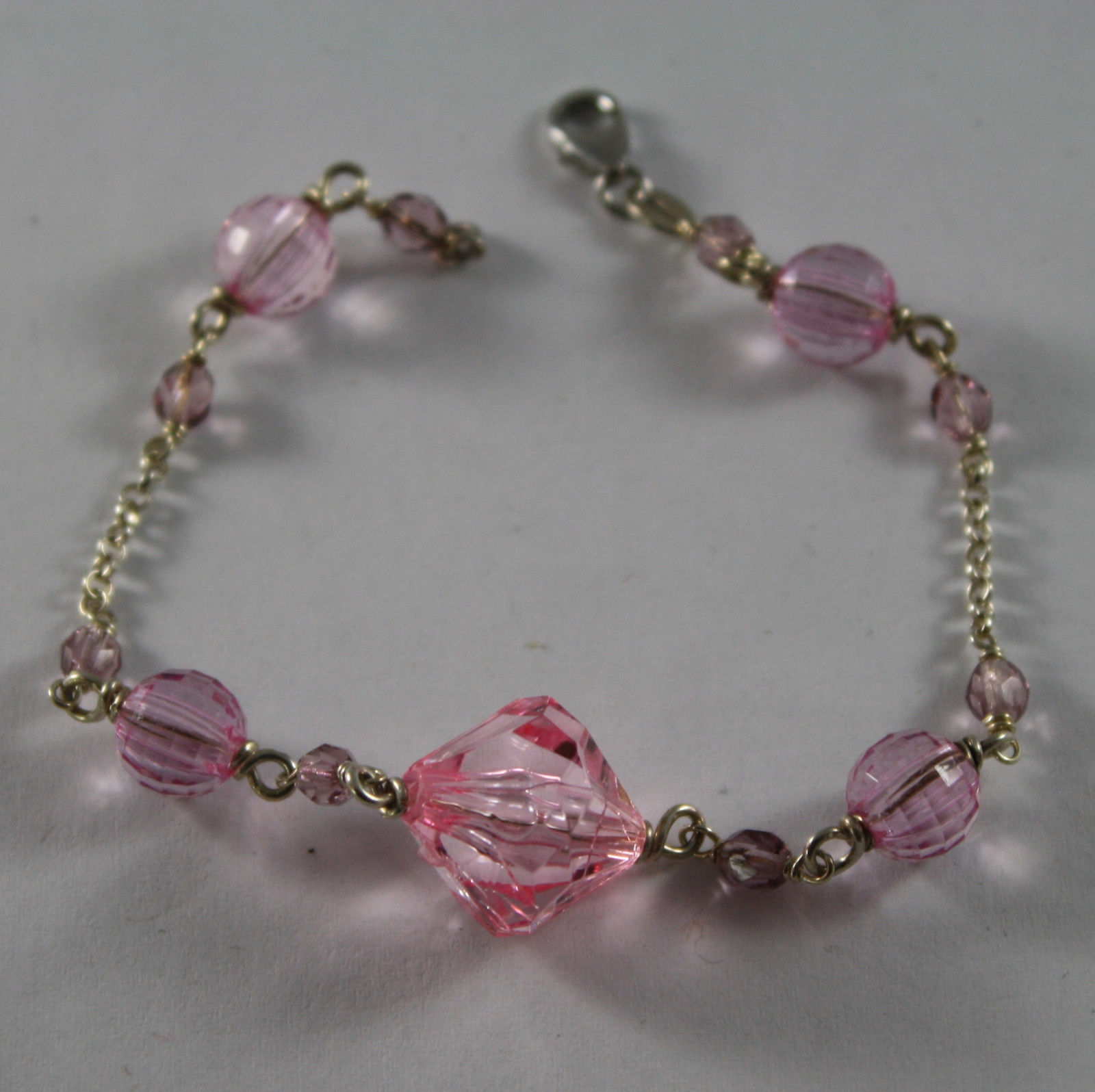 .925 RHODIUM SILVER BRACELET WITH PINK CRYSTALS