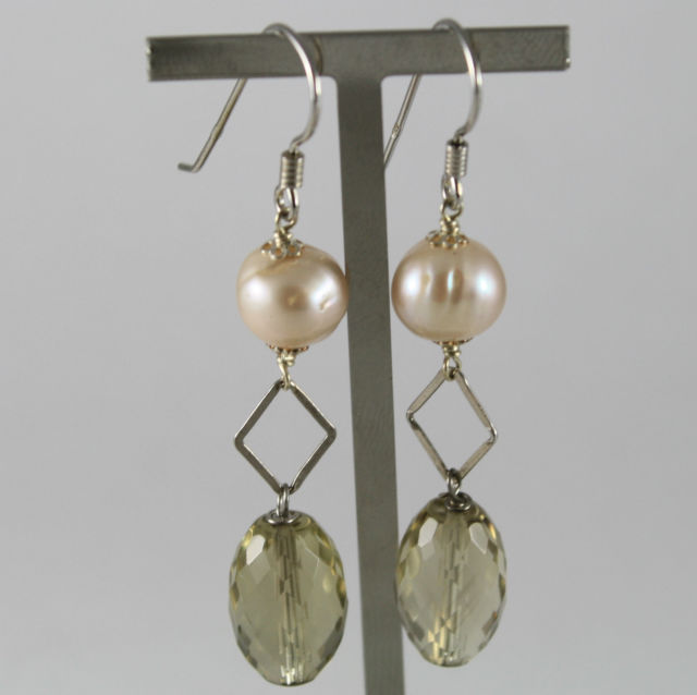 925 Silver Earrings Pendants Pearl with Pink and Lemon Quartz Faceted