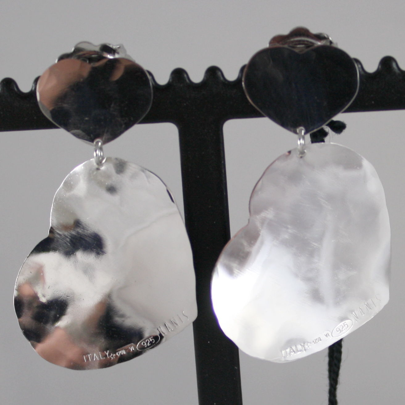 .925 RHODIUM SILVER EARRINGS HEART, HAMMERED AND SATIN BY NANIS, MADE IN ITALY