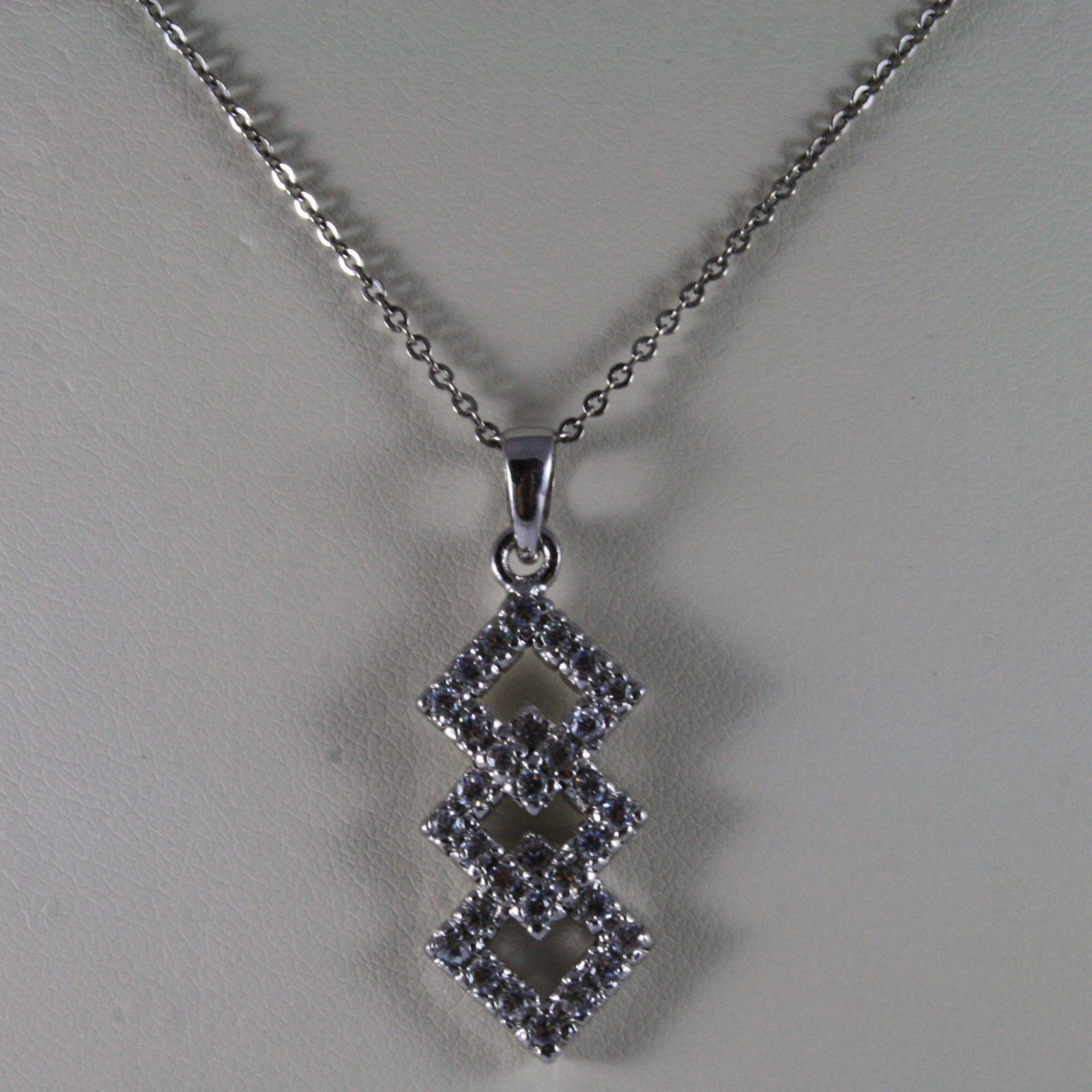 .925 SILVER RHODIUM NECKLACE WITH THREE RHOMBUS WITH ZIRCONIA