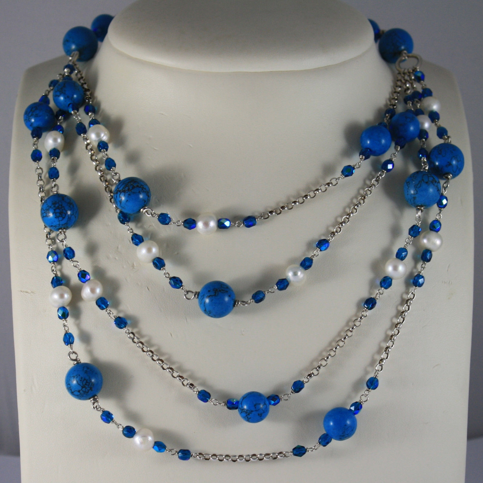 .925 RHODIUM SILVER MULTI STRAND NECKLACE WITH TURQUOISE, CRYSTALS AND PEARLS
