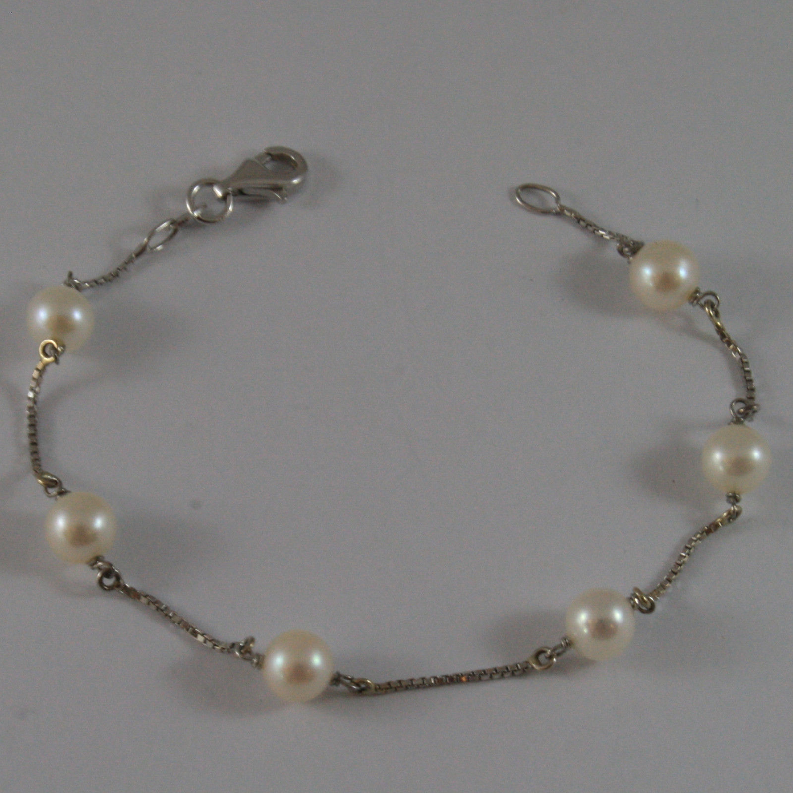SOLID 18K WHITE GOLD BRACELET WITH FRESHWATER WHITE PEARL MADE IN ITALY 7.28 IN